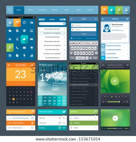 Set of flat design ui elements for mobile app and web - stock vector