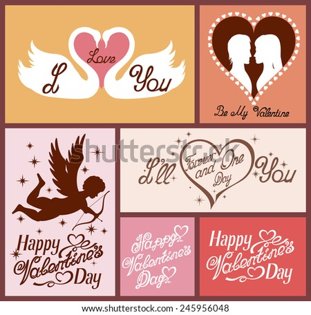 Set of flat design Valentines day greeting cards. - stock vector