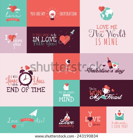 Set of flat design Valentines day signs for greeting card, web banner, badge, ad and printed materials  - stock vector