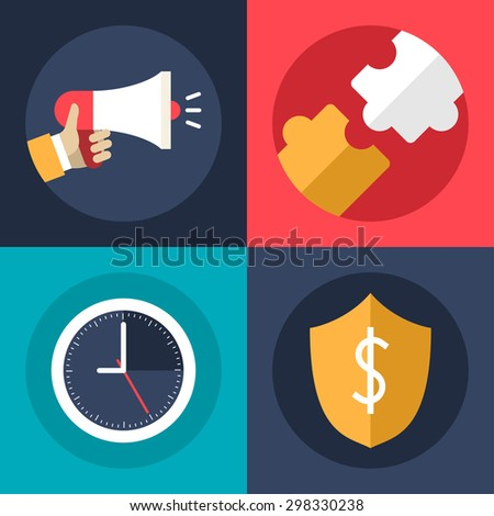 Set of Flat Design Vector Business Icons. Promotion, Creative Ideas, Security, Time Management - stock vector