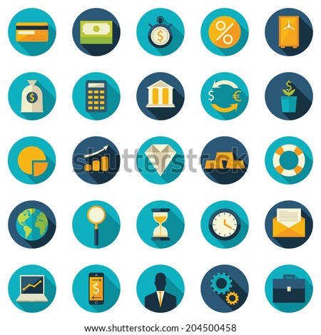 Set of flat design vector colored round icons for finance, money, banking services