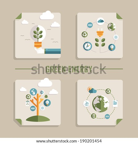 set of flat design vector concept icons for green energy - stock vector