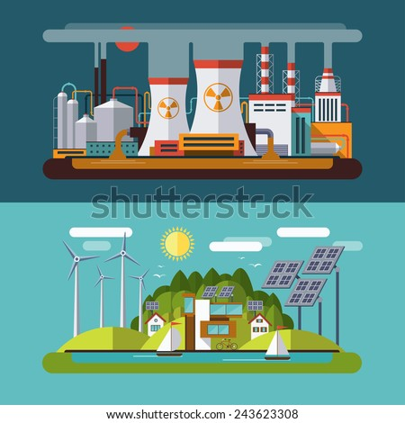 Set of flat design vector concept illustrations with icons of ecology, emissions, environment, solar and wind energy and nature pollution - stock vector