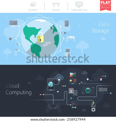 Set of flat design vector illustration concepts for business, management, marketing, finance, social network, education. Web banners and promotional materials. Cloud computing, data storage - stock vector