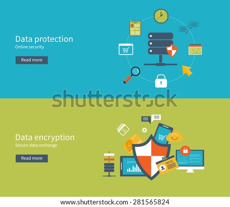 Set of flat design vector illustration concepts for data protection, safe work and data encryption. Concepts for web banners and printed materials. - stock vector