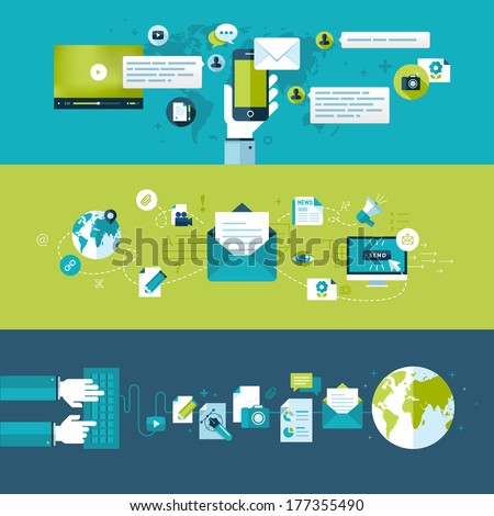 Set of flat design vector illustration concepts for email. Concepts for web banners and printed materials.     - stock vector