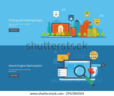 Set of flat design vector illustration concepts for finding and meeting people, search engine optimization and web analytics elements. Meet new people and find new friends. Mobile app. - stock vector