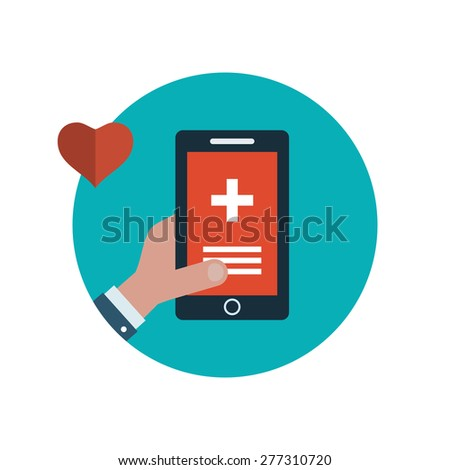 Set of flat design vector illustration concepts for health care, first aid, online medical services and support. Concept for banners and printed materials - stock vector