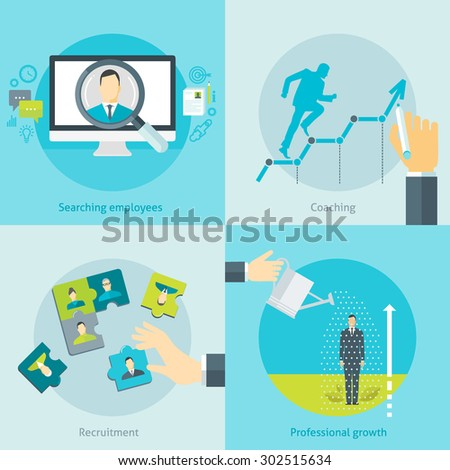 Set of flat design vector illustration concepts for human resource management, searching employees, recruitment, training, coaching, career, personal development isolated on bright background - stock vector