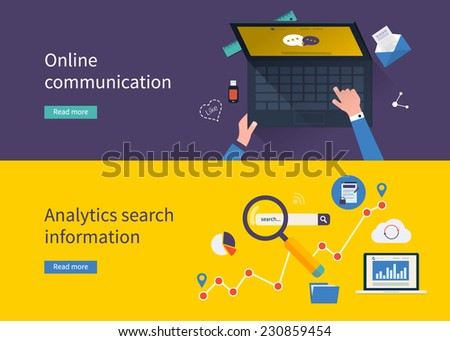 Set of flat design vector illustration concepts for online communication and analytics search information. Concepts for web banners and printed materials - stock vector