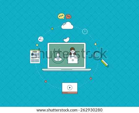 Set of flat design vector illustration concepts for online communication, education and social media. Social network and teamwork concept for web and infographic. - stock vector