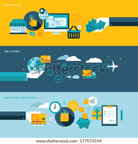 Set of flat design vector illustration concepts for online shopping, delivery and payment methods. Concepts for web banners and printed materials.     - stock vector