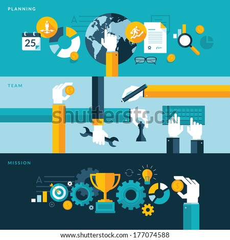 Set of flat design vector illustration concepts for planning, teamwork and mission. Concepts for web banners and printed materials.     - stock vector