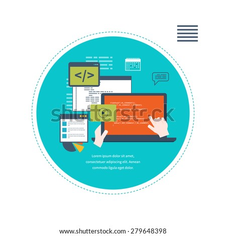 Set of flat design vector illustration concepts for search engine optimization and web analytics elements.  Programming and coding. Web development and search. Mobile app. - stock vector
