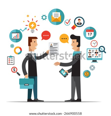 Set of flat design vector illustration concepts for searching employees, selecting best candidates, team building, recruitment, human resources management, headhunting, work of hr - stock vector