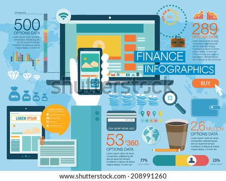 Set of flat design vector illustration concepts for website layout, mobile phone services and apps, and computer tablet services and apps. Concepts finance infographic - stock vector