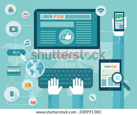 Set of flat design vector illustration concepts for website layout, mobile phone services and apps, and computer tablet services and apps. Buy now online - stock vector