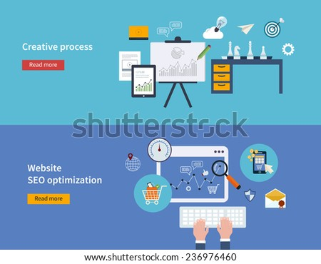 Set of flat design vector illustration concepts of creative process and website SEO optimization and mobile marketing. - stock vector