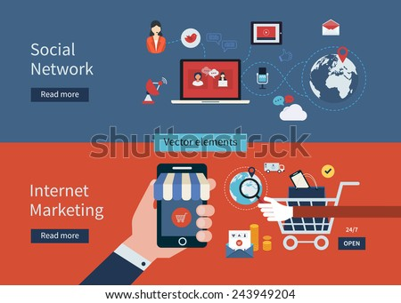 Set of flat design vector illustration concepts of online shopping, social network, mobile marketing and digital marketing. - stock vector