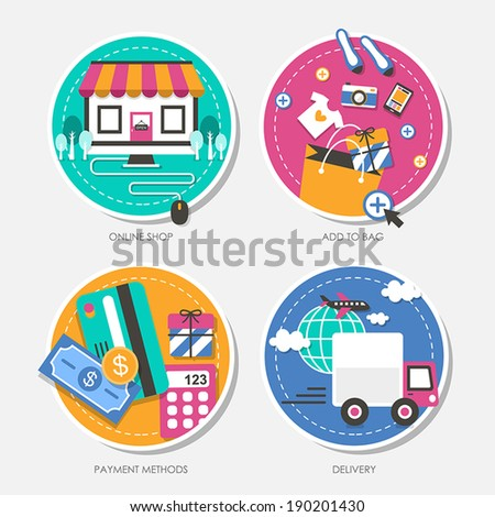 set of flat design vector illustration for online shop, add to bag, payment methods, delivery - stock vector