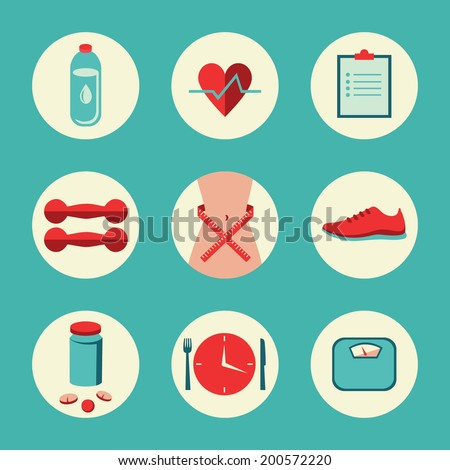 Set of flat design vector illustration round icons for fitness, dieting, weight loss, healthy lifestyle. Isolated on stylish background - stock vector
