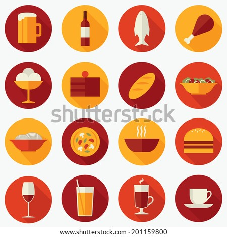 Set of flat design vector round icons for restaurant, food and drink: beer, wine, fish, meat, ice cream, cake, bread, salad, pasta, pizza, soup, burger, juice, mulled wine, coffee