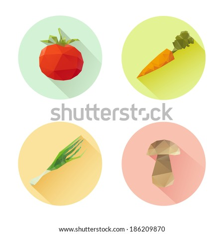 Set of flat design vegetables icons isolated on a white background, vector illustration - stock vector