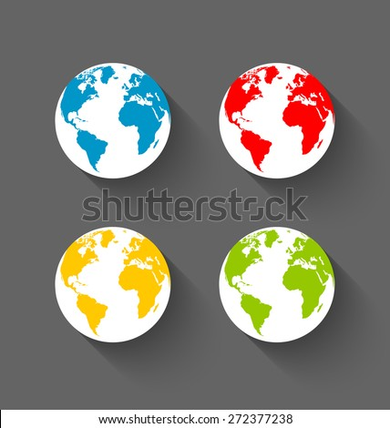 Set of flat Earth globe icons with long shadow effect on dark grey background - stock vector