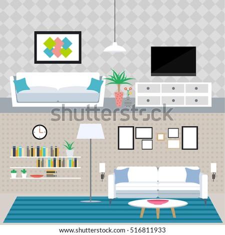 Set Flat Elements Interior Design Concept Stock Vector 516811933 ...