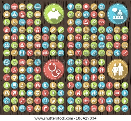 Set of 180 Flat Family Education Medical Icons with Shadows on Circular Contemporary Modern Buttons on Wood Texture. - stock vector