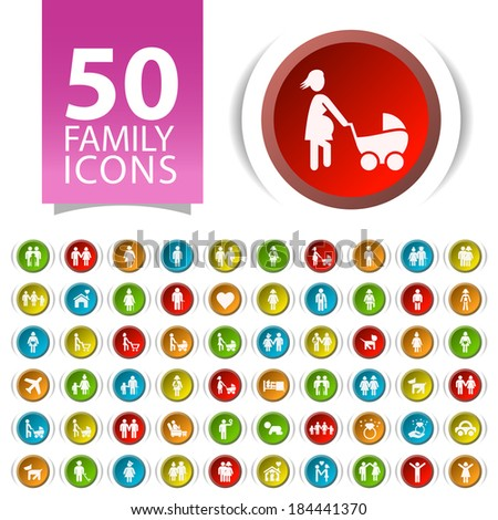Set of 50 Flat Family Icons on Circular Buttons. - stock vector