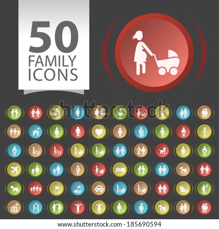 Set of 50 Flat Family Icons on Contemporary Circular Buttons on Black Background. - stock vector