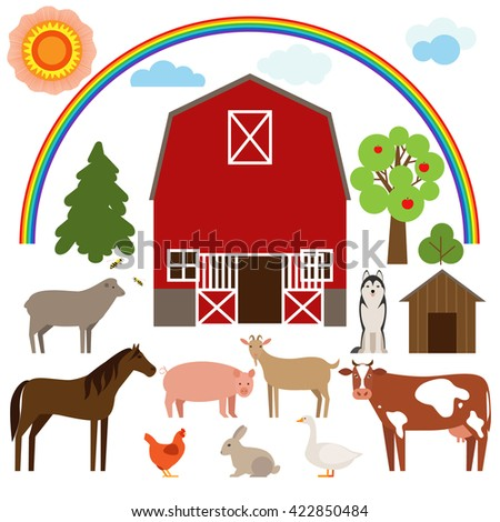 Set of flat farm animals. Farm animals on a white background. Farm animals and pets. - stock vector