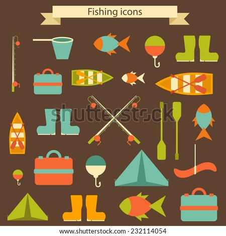 Set of flat fishing things for your design - stock vector