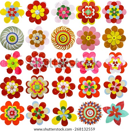 Set flat flower icons made paper stock vector 268132559 shutterstock set of flat flower icons made of paper isolated on white cute retro design mightylinksfo