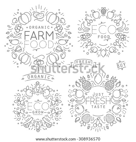Set of flat fruits and vegetables monograms drawing with black lines on white background - stock vector