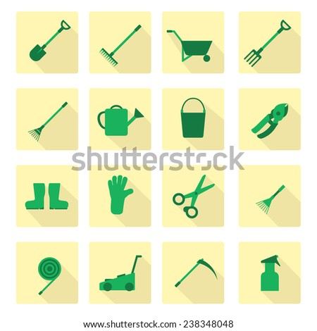Set of flat garden tools icons - stock vector