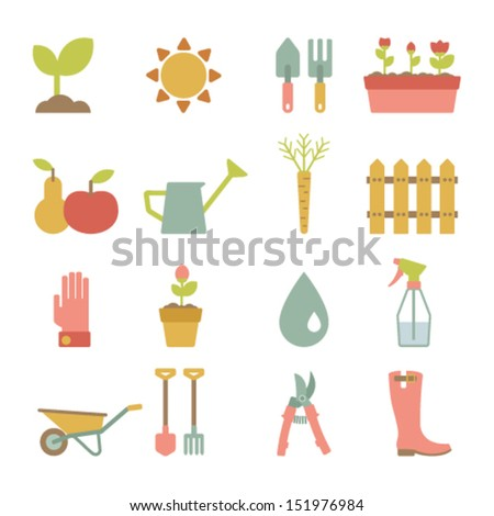 set of flat gardening icons - stock vector