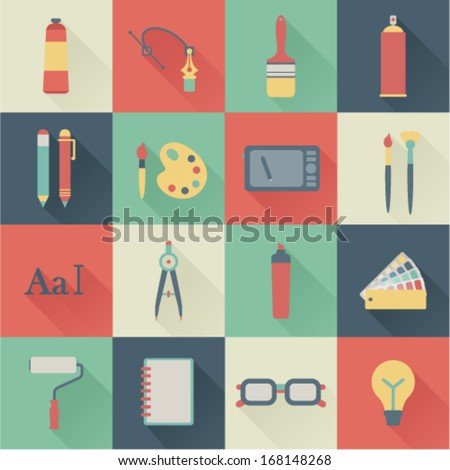 set of flat graphic design icons - stock vector