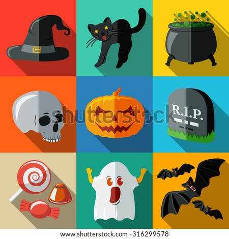 Set of flat HALLOWEEN icons with long shadows - pumpkin, witch hat, cauldron, skull, cat, grave, candy, ghost, bats. Vector