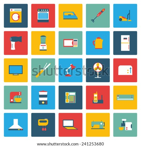 Set of flat home appliances icons for your design - stock vector