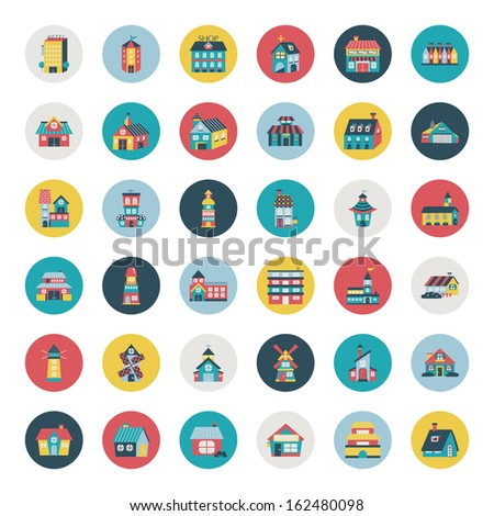 Set of flat house icons - stock vector