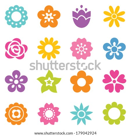 Set of flat icon flower icons in silhouette isolated on white. Cute retro design in bright colors for stickers, labels, tags, gift wrapping paper.