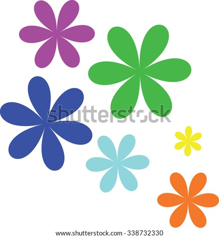 Set of flat icon flower icons in silhouette isolated on white. Cute retro design in bright colors for stickers, labels, tags, gift wrapping paper. - stock vector