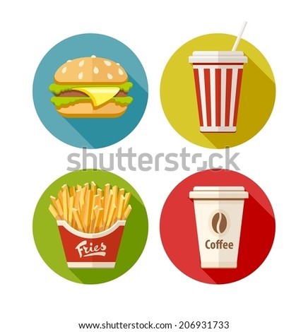 Set of flat icon with hamburger fries soda and coffee in paper cup. Eps10 vector illustration. Isolated on white background