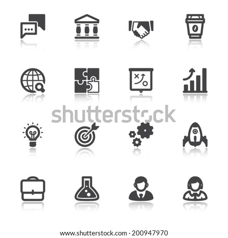 Set of flat icons about business with reflection. Start up - stock vector