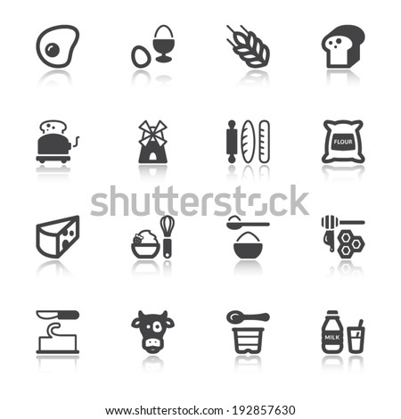 Set of flat icons about dairy egg bread and sugar with reflection - stock vector