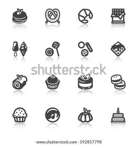 Set of flat icons about desserts with reflection - stock vector