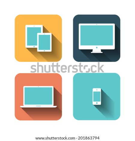 Set of flat icons about devices - stock vector