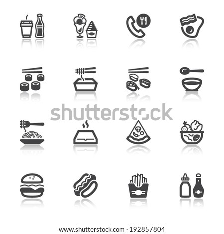 Set of flat icons about fast food and junk food with reflection - stock vector